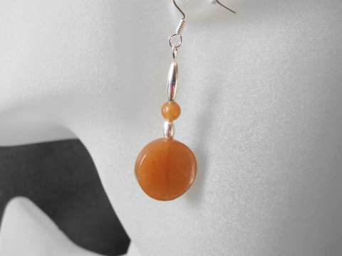 Dark Orange Red Aventurine Flat Coins & Rounds Sterling Silver Earrings